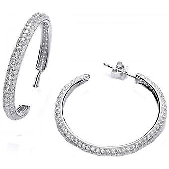 Cavendish French Wide Cubic Zirconia Hoop Earrings - Silver