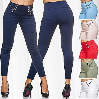 Ladies of Treggings buttons zipper details of denim Jeggings low waist stretch pants
