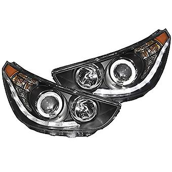 AnzoUSA 121476 Black/Clear/Amber Halogen Projector Headlight for Hyundai Accent