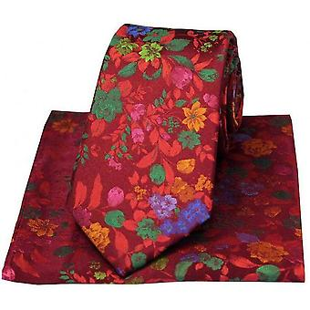 Posh and Dandy Flowers Luxury Silk Tie and Handkerchief Set - Wine/Multi-colour