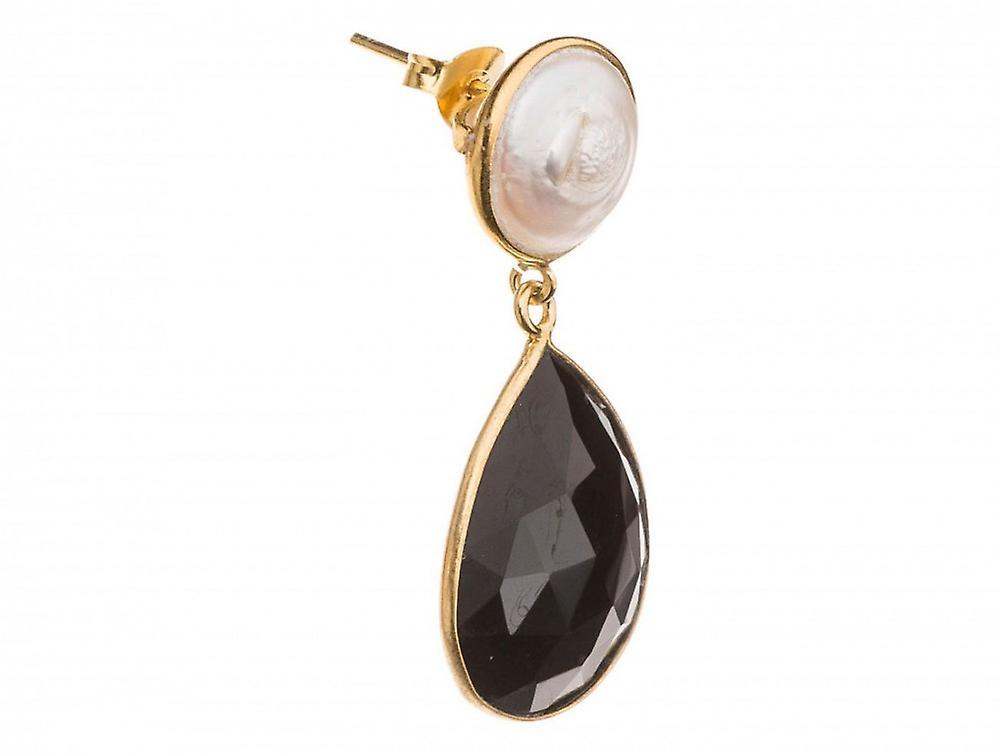 Paar femmes - Ohrringe - 925 argent Veroret - Perlen - Onyx - Weiss - noir - 4 cm