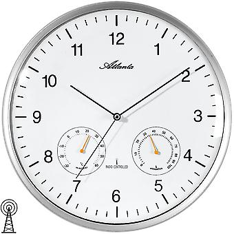 Atlanta 4363/19 veggen klokkeradio radiostyrte vegg klokke analoge sølv runde termometer