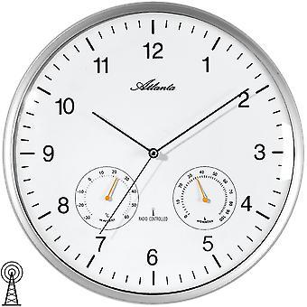 Atlanta 4363/19 wall clock radio radio controlled wall clock analog silver round thermometer