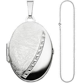 Oval medaljong anheng åpne for 2 bilder 925 sølv kjede 50 cm