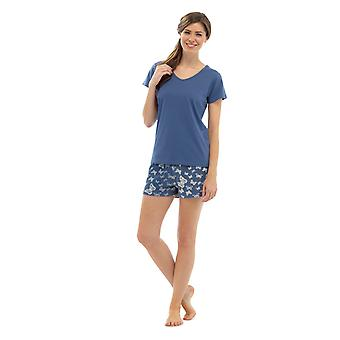 Ladies V-Neck Jersey Top & Butterfly Print Shorts Summer Pyjama pajama Sleepwear