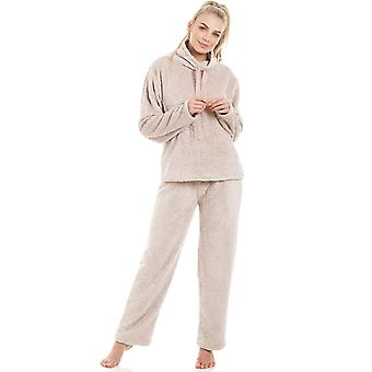 Camille Womens Supersoft Fleece Mink Pyjama Set