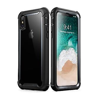 i-Blason iPhone XS Case, iPhone X Case Ares Full-Body Rugged Clear Bumper Cover with Built-in Screen Protector, Black