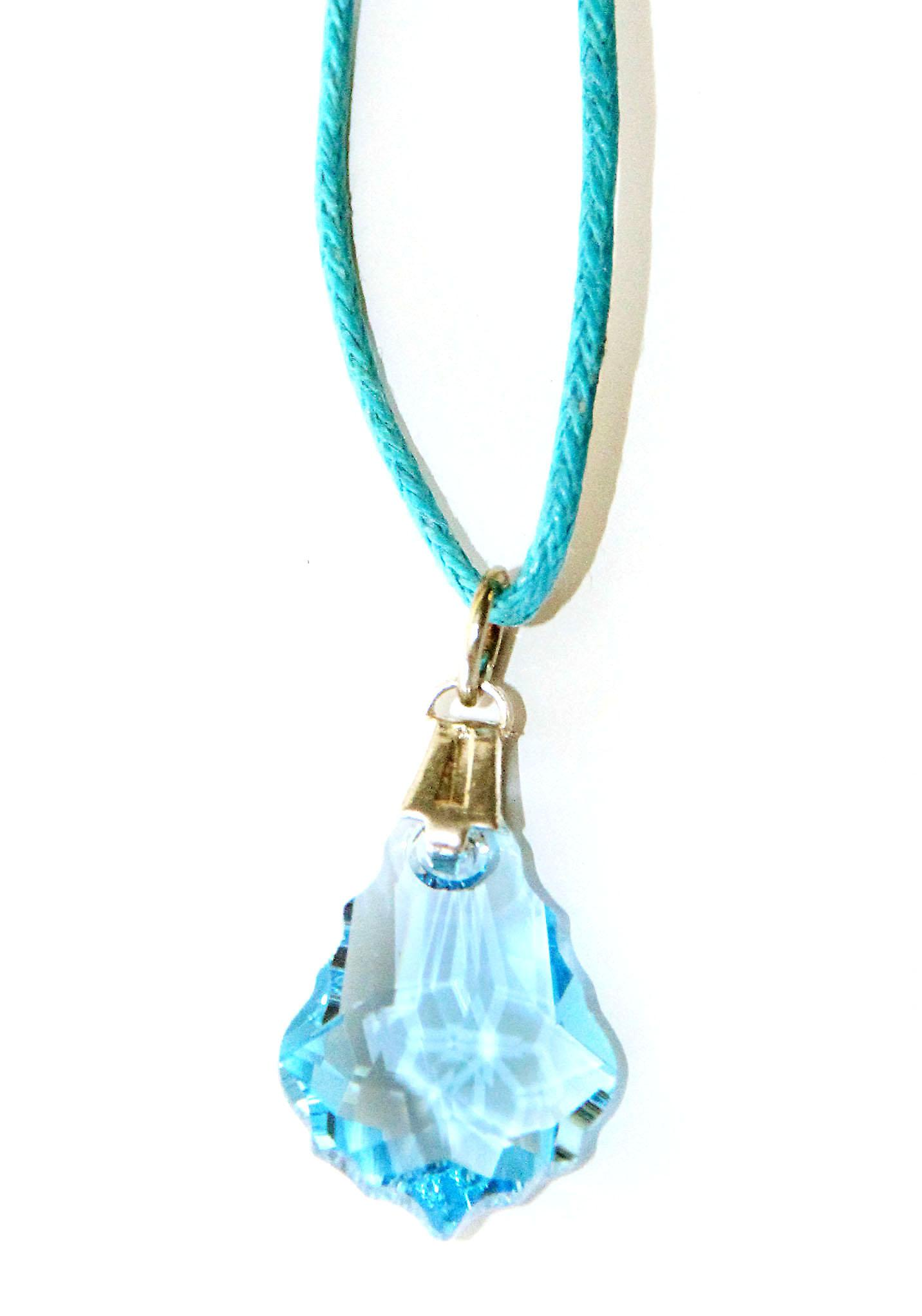 Waooh - Jewelry - Swarovski / blue teardrop pendant and waxed cord - Small