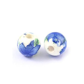 Packet 10 x White/Blue Porcelain 10mm Plain Round Beads HA27245