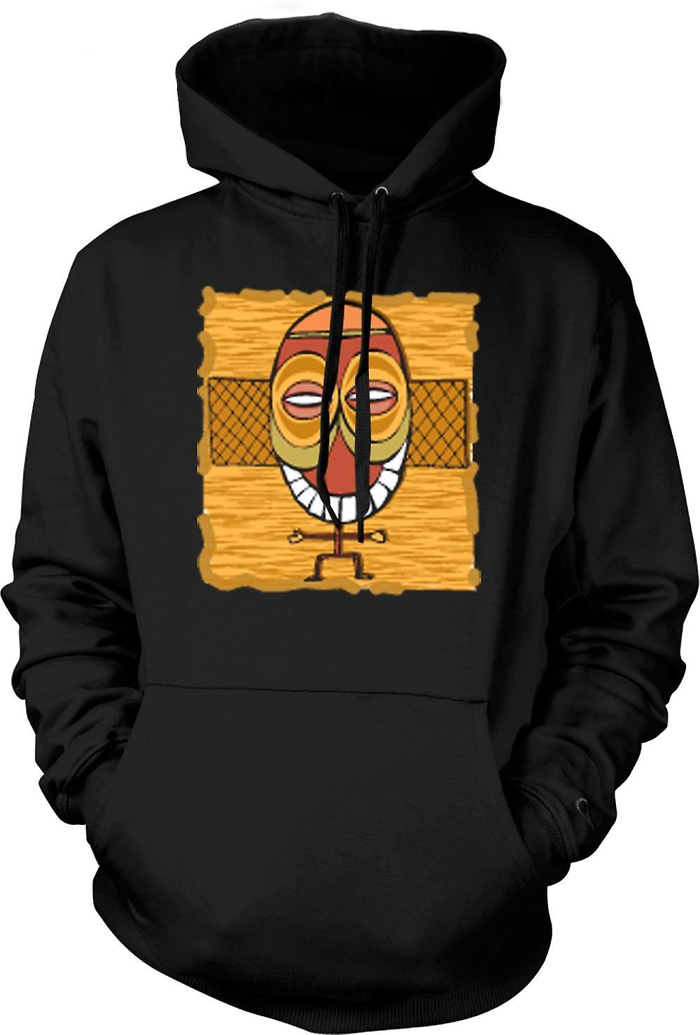 Mens Hoodie - Zulu Tribal Mask ritning