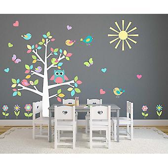 Full färg pastell Uggla träd plantskola dekal vägg klistermärke