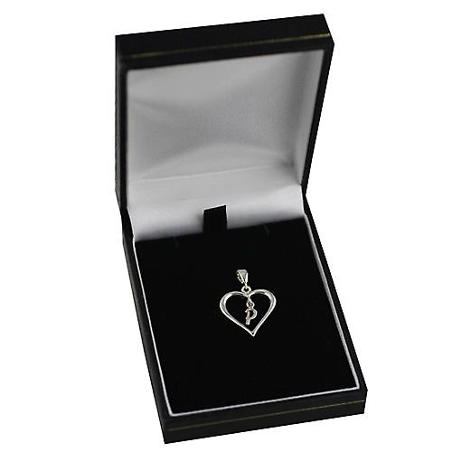 Silver heart Pendant with a hanging Initial P