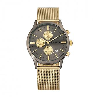 Breed Espinosa Chronograph Mesh-Bracelet Watch w/ Date -Gold/Gunmetal