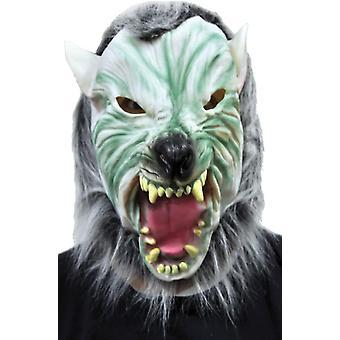 Silber Wolf mit Haar-Maske für Halloween