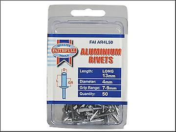 Faithfull Aluminium Rivets 4mm x 13mm Long Pre-Pack of 50