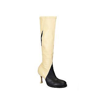 Céline Beige/black Leather Boots