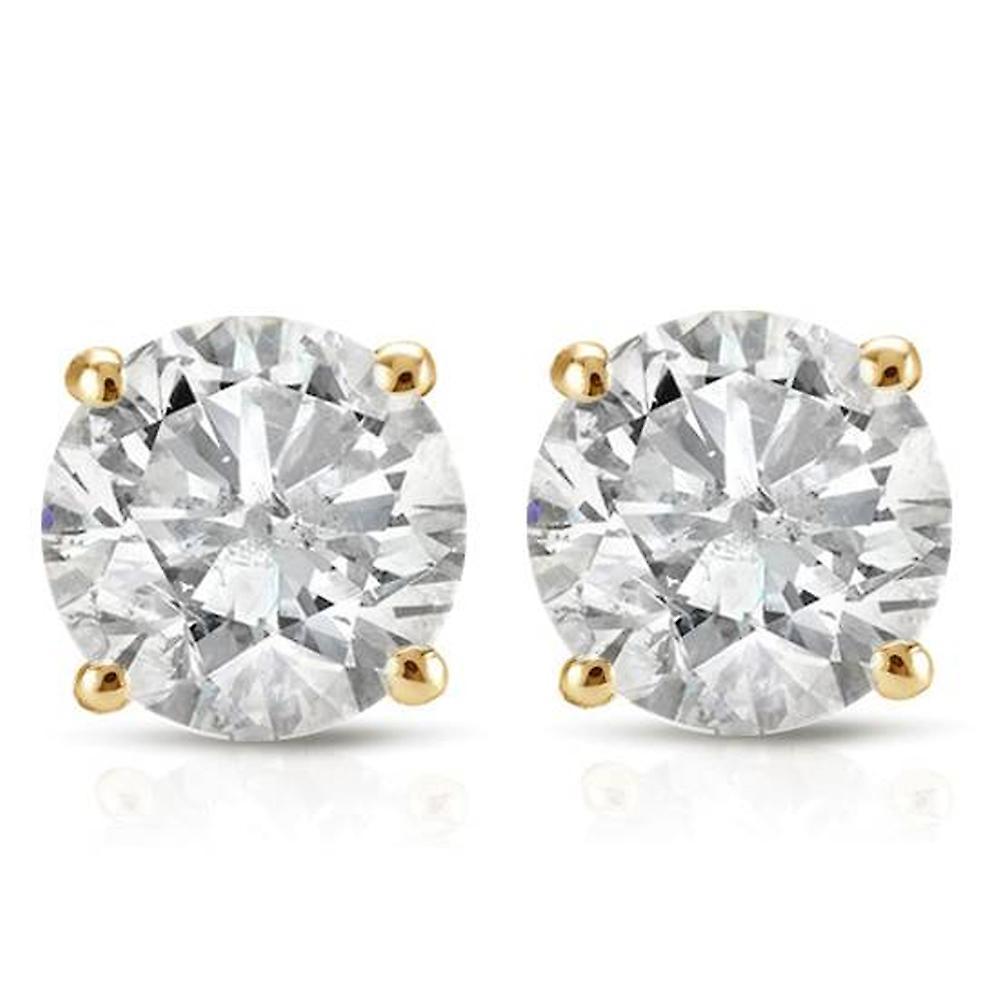 1ct Round Diamond Stud Earrings in 14K jaune or with Screw Backs