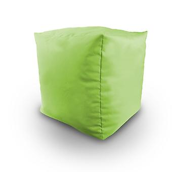 Lime Water Resistant Bean Filled Cube Pouffe Footstool