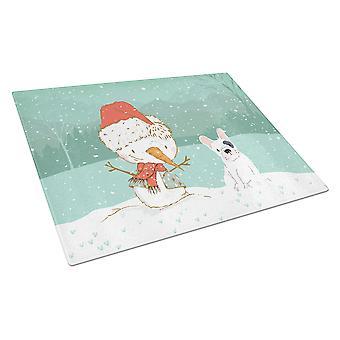 Piebald French Bulldog Snowman Christmas Glass Cutting Board Large