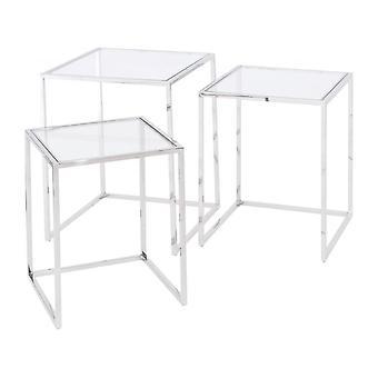 Mobili Libra In acciaio inox e vetro Nido di tavoli