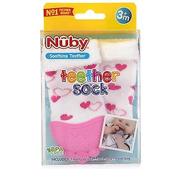 Baby Accessories - Nuby - Soothing Teether Sock Pink Hearts New 80337