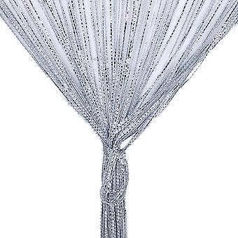 TRIXES String Dew Drop String Curtain -Glitter Tassel – Silver - Door or Window Panel 90 x 200cm Perfect as Fly Screen