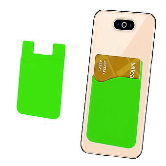Silicone Credit / Debit Card Pouch For Asus ZenFone 2 Laser ZE601KL Device Wallet Holder Stick On Adhesive (Green)