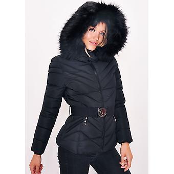 Quiltad Faux päls huva vadderad bältade Puffer Coat svart