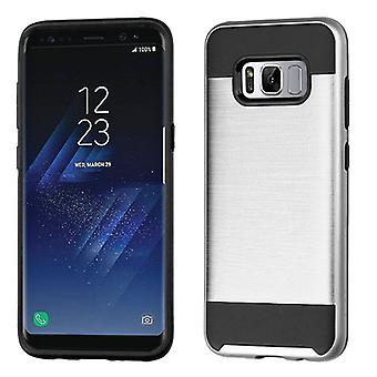 ASMYNA Silver/Black Brushed Hybrid Case for Galaxy S8 Plus