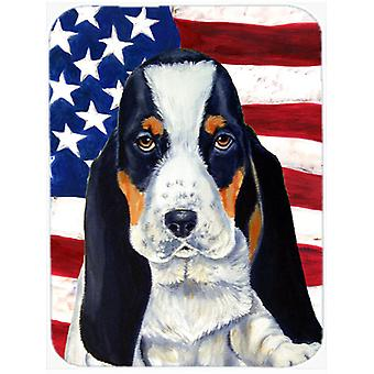 USA American Flag with Basset Hound Glass Cutting Board Large