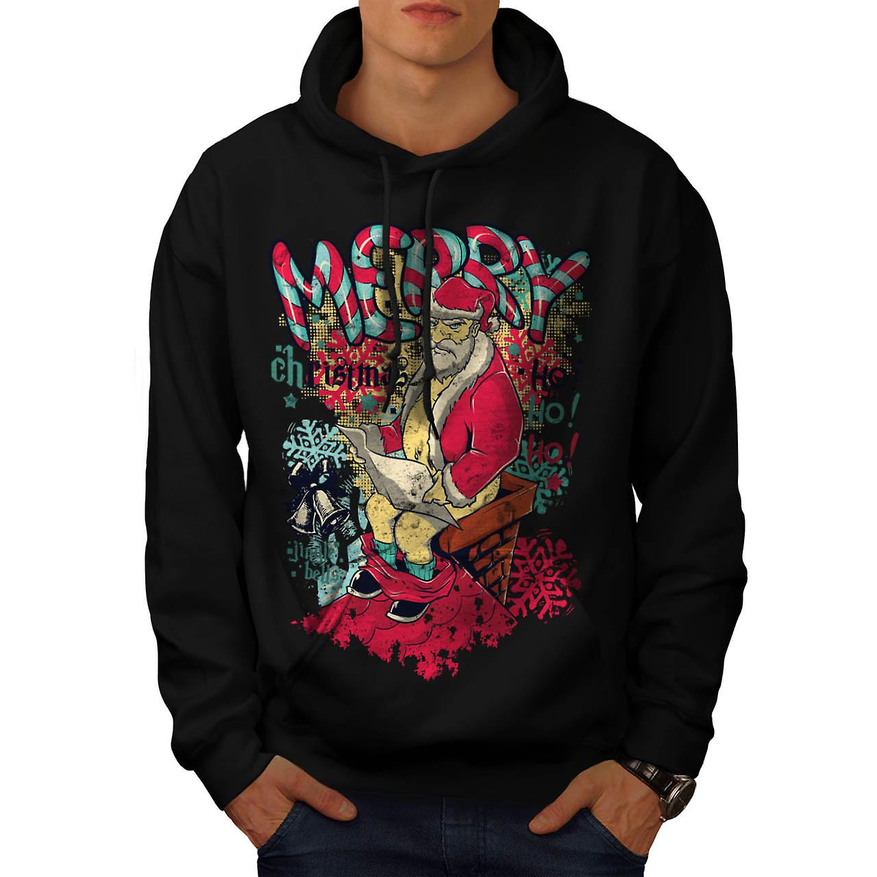 Angry Evil Santa Ho Ho Xmas Cheer Men Black Hoodie | Wellcoda