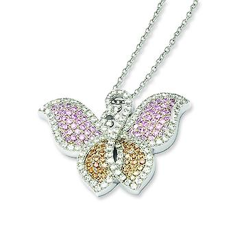 Sterling Silver and CZ Brilliant Embers Butterfly Necklace - 18 Inch