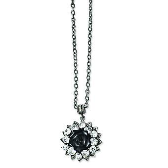 Black-plated Crystal and Black Flower 16inch With 3in Ext Necklace