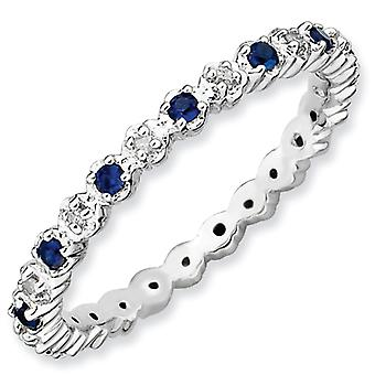 Sterling Silver Polished Prong set Rhodium-plated Stackable Expressions Cr. Sapphire and Diamond Ring - Ring Size: 5 to