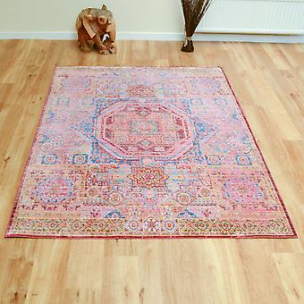 Aqua Silk Traditional Multi-Coloured Rugs B207C