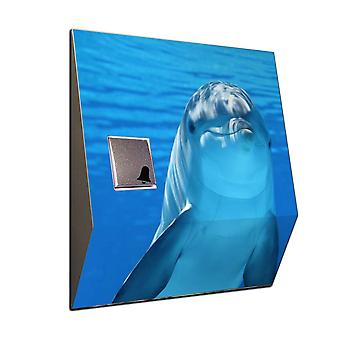 Radio Gong dolphin in the sea motif as wireless front door bell stainless steel V2A