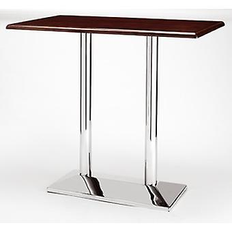 Dirk Twin Tall Poseur Table - Rectangle - Chrome/Cast Iron