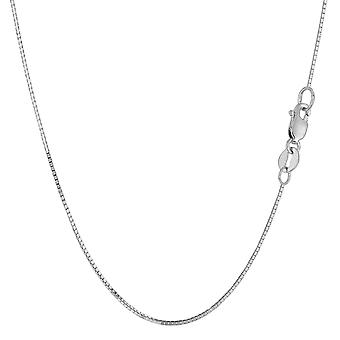 14k White Gold Classic Mirror Box Chain Necklace, 0.7mm
