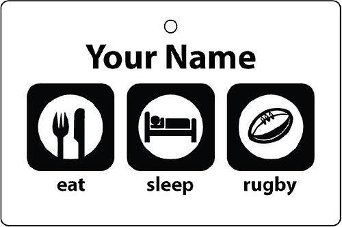 Personalised Eat Sleep Rugby Car Air Freshener