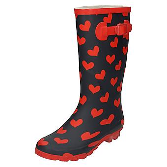 Womens Spot On Heart Print Wellington Boots