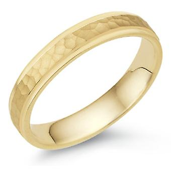 4mm Hammered Wedding Band in 18K Yellow Gold