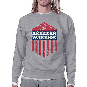 Amerikanska Warrior Unisex grafisk Sweatshirt grå Crewneck tröja
