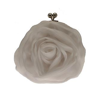 W.A.T White Satin And Voile Rose Clutch Bag