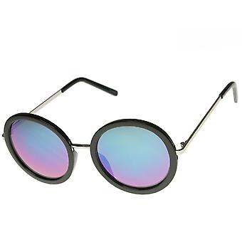 Womens Oversized Mirror Lens Circle Round Sunglasses