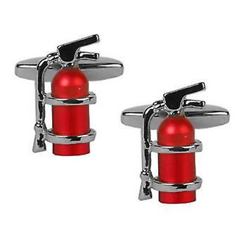 Zennor Fire Extinguisher Cufflinks - Silver/Red