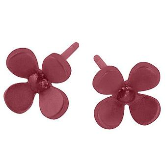 Ti2 Titanium 8mm Four Petal Flower Stud Earrings - Coffee Brown