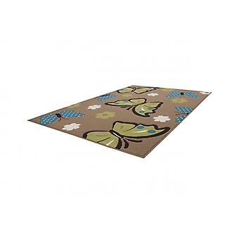 Kids carpet 3D flat pile carpets Butterfly flowers Brown