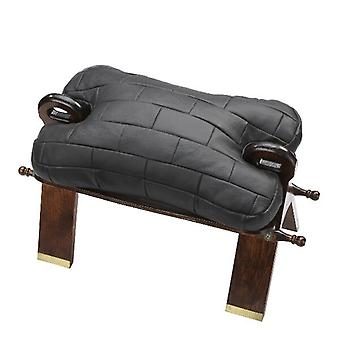 Camel stool stool with cushions made of genuine leather black real wood frame