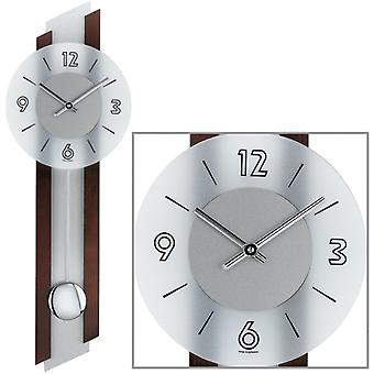 Wall clock clock pendulum clock quartz clock solid wood glass 62 x 23 x 7 cm