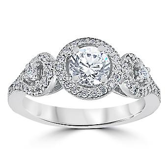 1ct Diamond Engagement Ring Three Stone Pave Halo Ring 14K White Gold